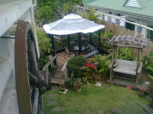View of gazebo from balcony above.